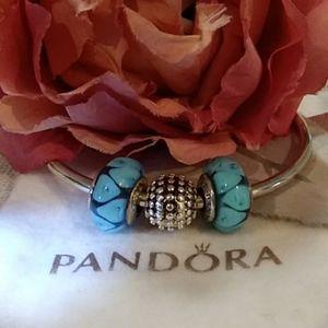 Set of 2 Pandora Turquoise Tear-Drop Murano Beads